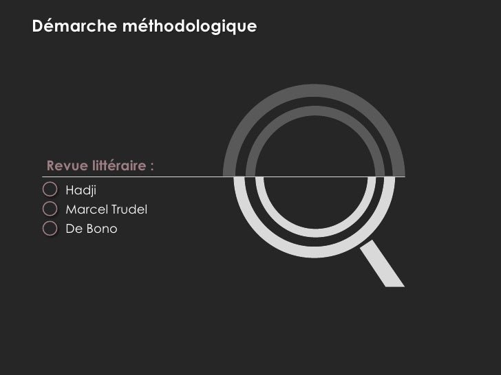 Démarche méthodologique Revue littéraire :    Hadji    Marcel Trudel    De Bono