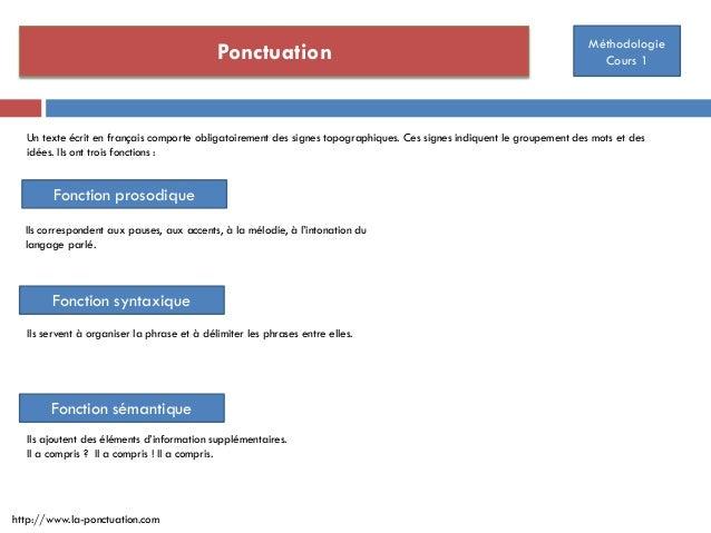 Ponctuation Méthodologie Cours 1 http://www.la-ponctuation.com Un texte écrit en français comporte obligatoirement des sig...