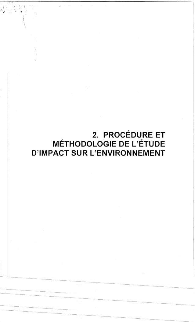 Méthodologie de l'étude d'impact sur l'environ