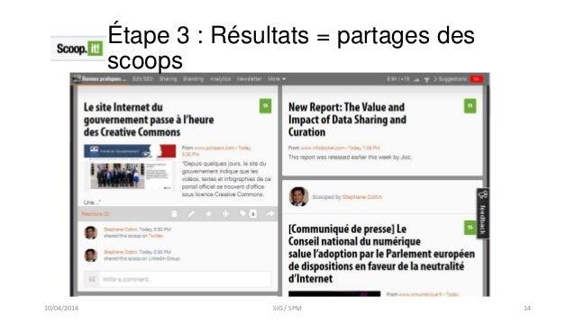 Étape 3 : Résultats = partages des scoops 10/04/2014 SIG / SPM 14