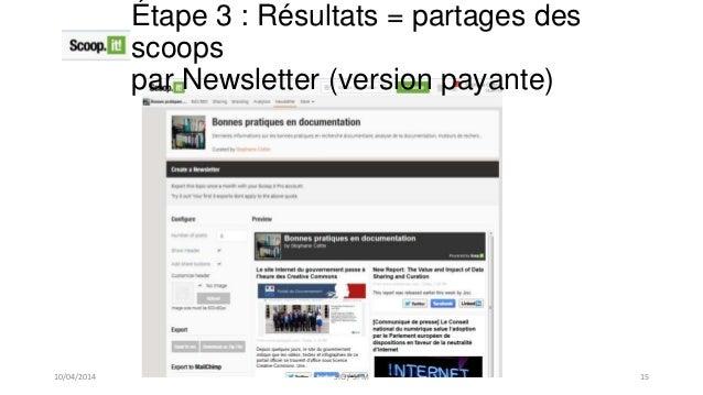 Étape 3 : Résultats = partages des scoops par Newsletter (version payante) 10/04/2014 SIG / SPM 15