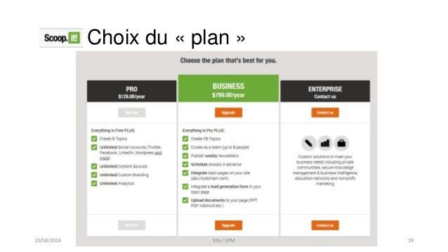 Choix du « plan » 10/04/2014 SIG / SPM 19