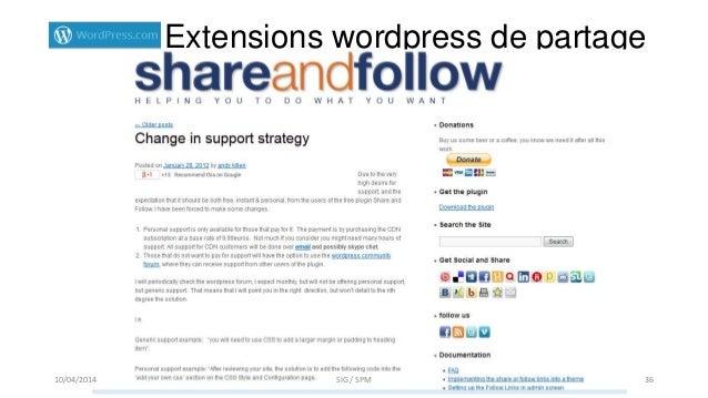Extensions wordpress de partage 10/04/2014 SIG / SPM 36