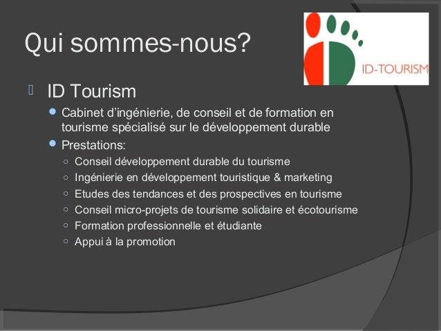 M tiers et opportunit s en tourisme durable - Cabinet de conseil en developpement international ...