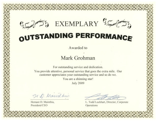 Performance Award - July 2009