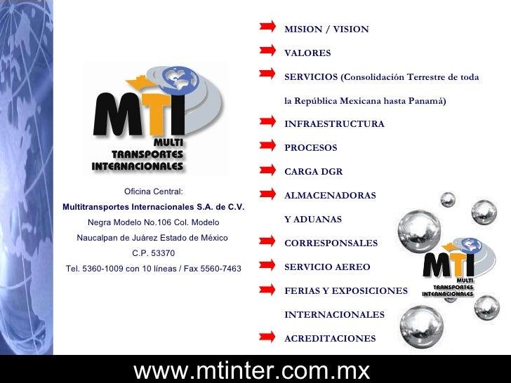 Oficina Central: Multitransportes Internacionales S.A. de C.V. Negra Modelo No.106 Col. Modelo Naucalpan de Juárez Estado ...