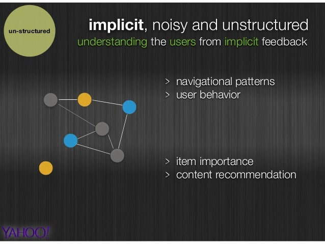 implicit, noisy and unstructuredun-structured understanding the users from implicit feedback navigational patterns user be...