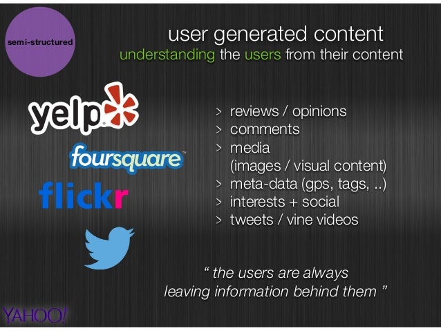 user generated content reviews / opinions comments media  (images / visual content) meta-data (gps, tags, ..) interests +...
