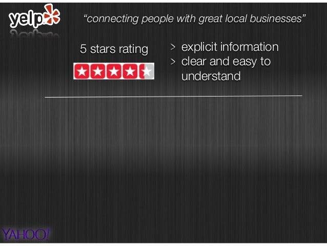 """5 stars rating explicit information clear and easy to understand """"connecting people with great local businesses"""""""