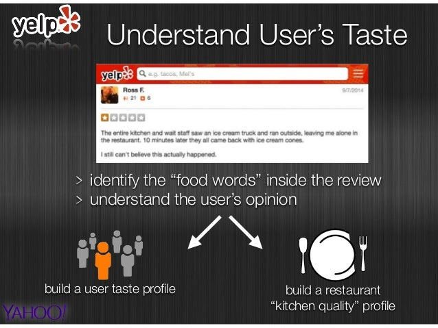"""identify the """"food words"""" inside the review understand the user's opinion Understand User's Taste build a user taste profil..."""
