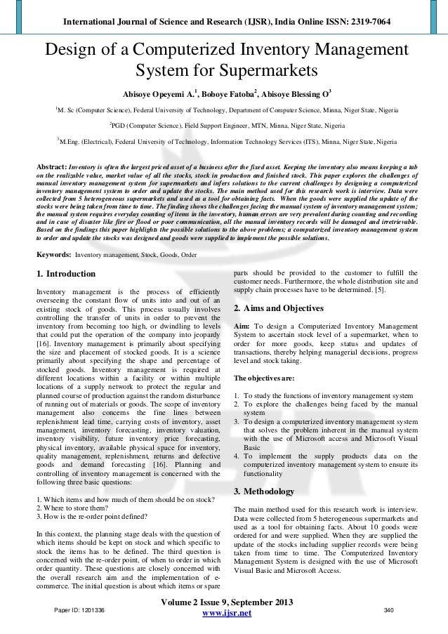 inventory management problem statement essays