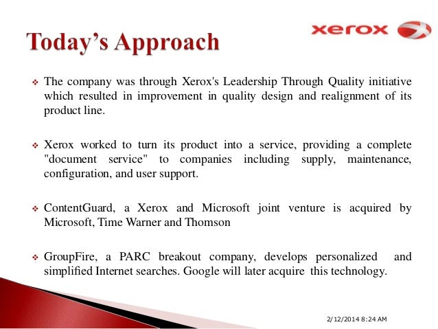 innovation at xerox essay Fuji xerox was established in 1962 as a 50:50 partnership with rank xerox and the latter was absorbed into xerox corporation in 1997.