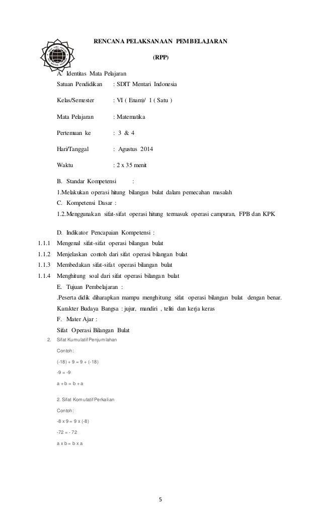 Contoh RPP Matematika kelas 6 Semester 1