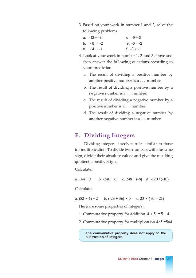 Math Chapter 1 Integers