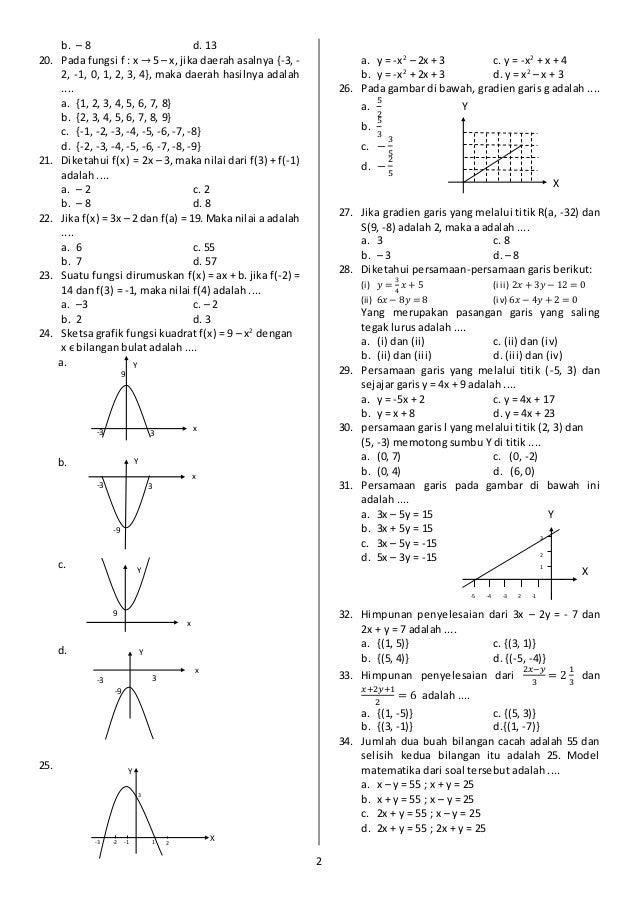 Soal uas ganjil matematika smp kelas viii 20152016 2 ccuart Images