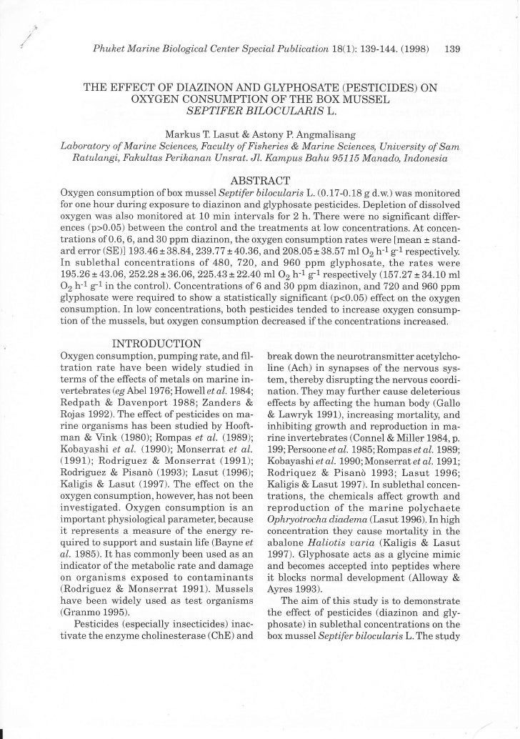 Phulzet Mq.rine Biological Center Special Publicq.tion 18(1): 139-144.   (1998)   139     THE EFFECT OF DIAZINON AND GLYPH...