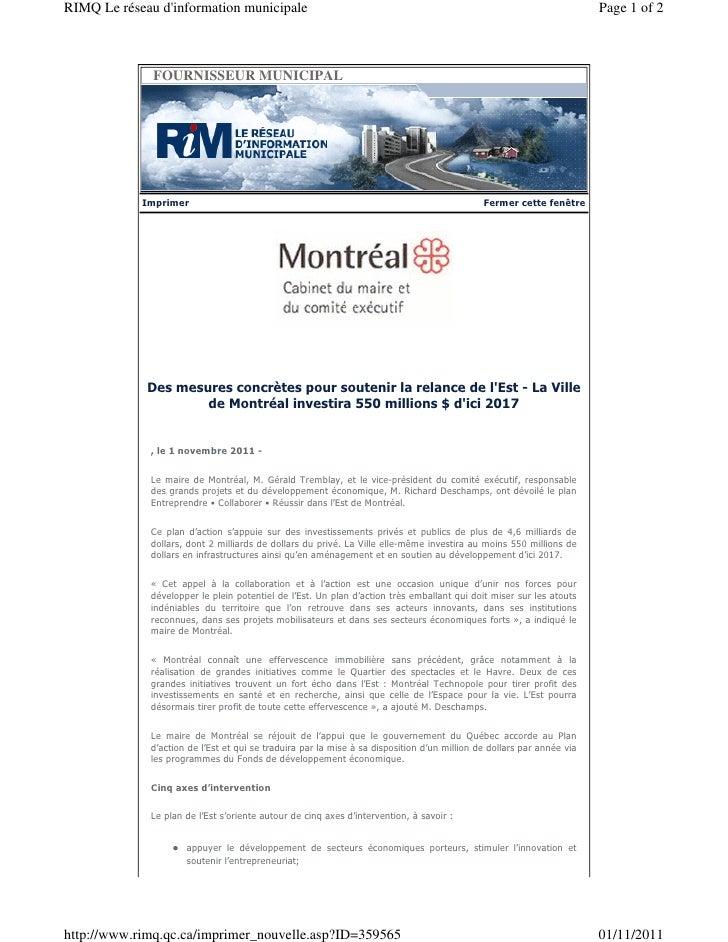 RIMQ Le réseau dinformation municipale                                                                                Page...