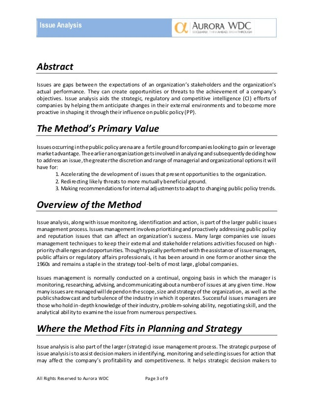 issue analysis essay Social problems research papers examine an example of how to place an order for a reflective paper, and what format to use.