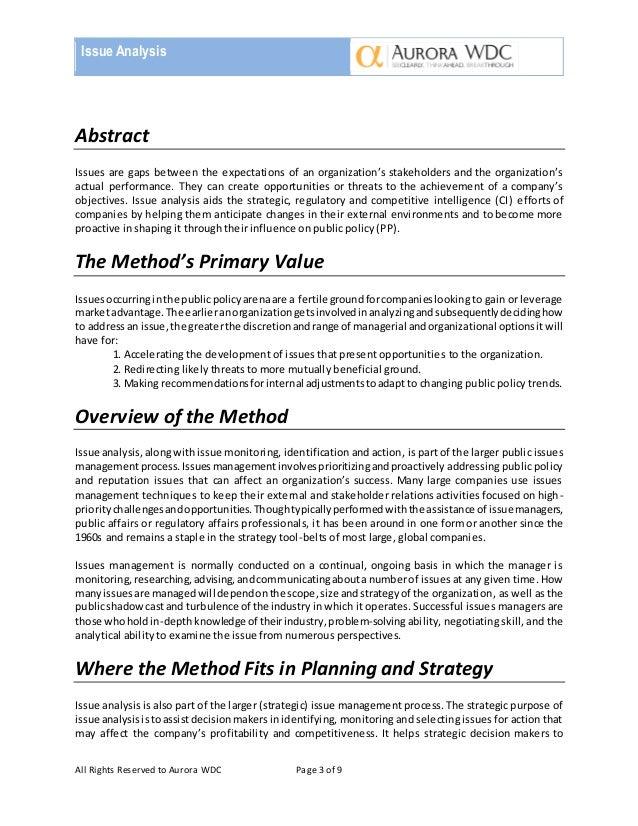 issue analysis essay