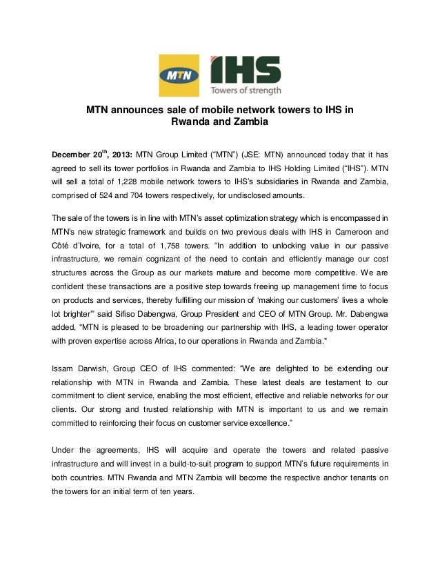 """MTN announces sale of mobile network towers to IHS in Rwanda and Zambia December 20th , 2013: MTN Group Limited (""""MTN"""") (J..."""