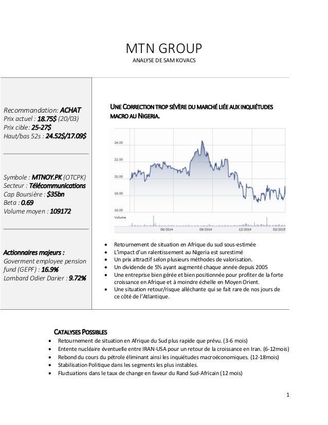 1 MTN GROUP ANALYSE DE SAM KOVACS Recommandation: ACHAT Prix actuel : 18.75$ (20/03) Prix cible: 25-27$ Haut/bas 52s : 24....