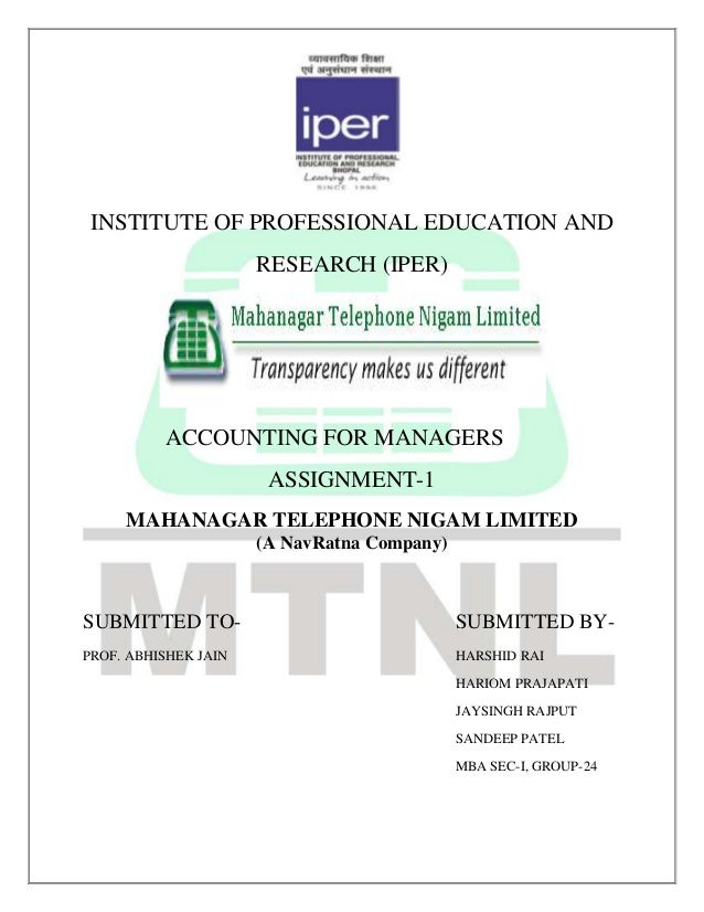 INSTITUTE OF PROFESSIONAL EDUCATION AND                      RESEARCH (IPER)          ACCOUNTING FOR MANAGERS             ...