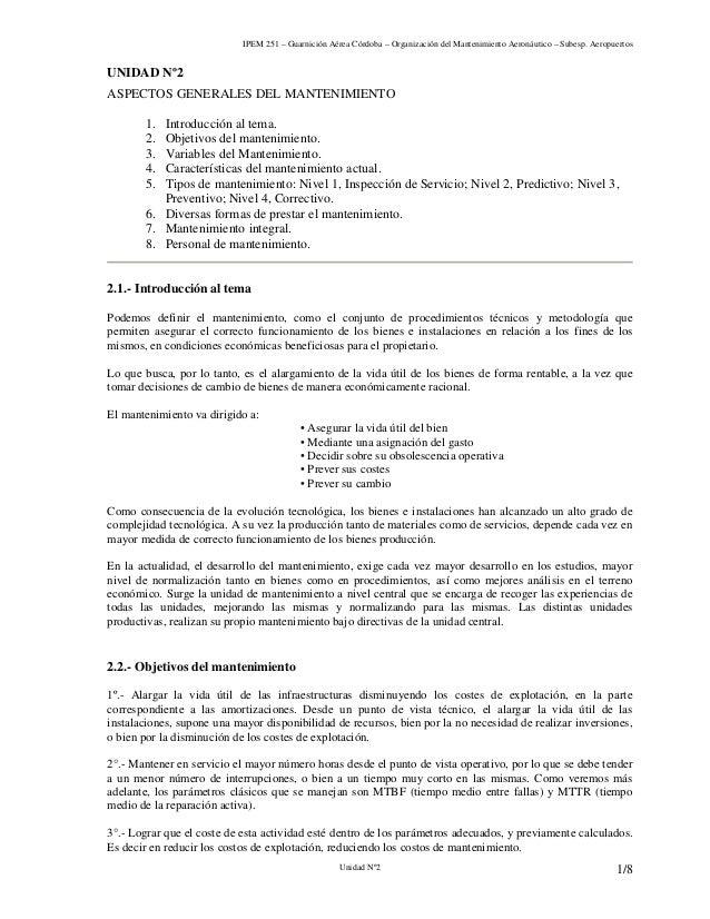 IPEM 251 – Guarnición Aérea Córdoba – Organización del Mantenimiento Aeronáutico – Subesp. Aeropuertos Unidad Nº2 1/8 UNID...