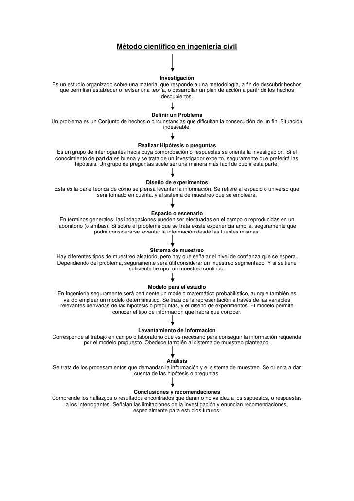 Método científico en ingeniería civil<br />Investigación<br />Es un estudio organizado sobre una materia, que responde a u...