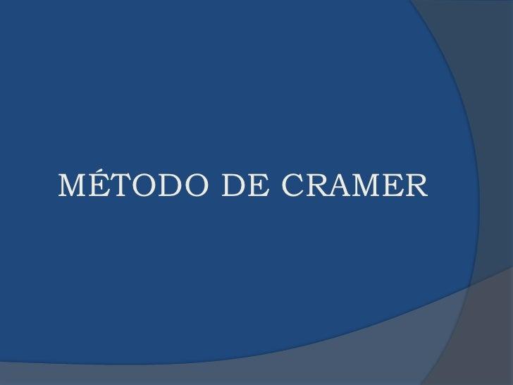 MÉTODO DE CRAMER<br />