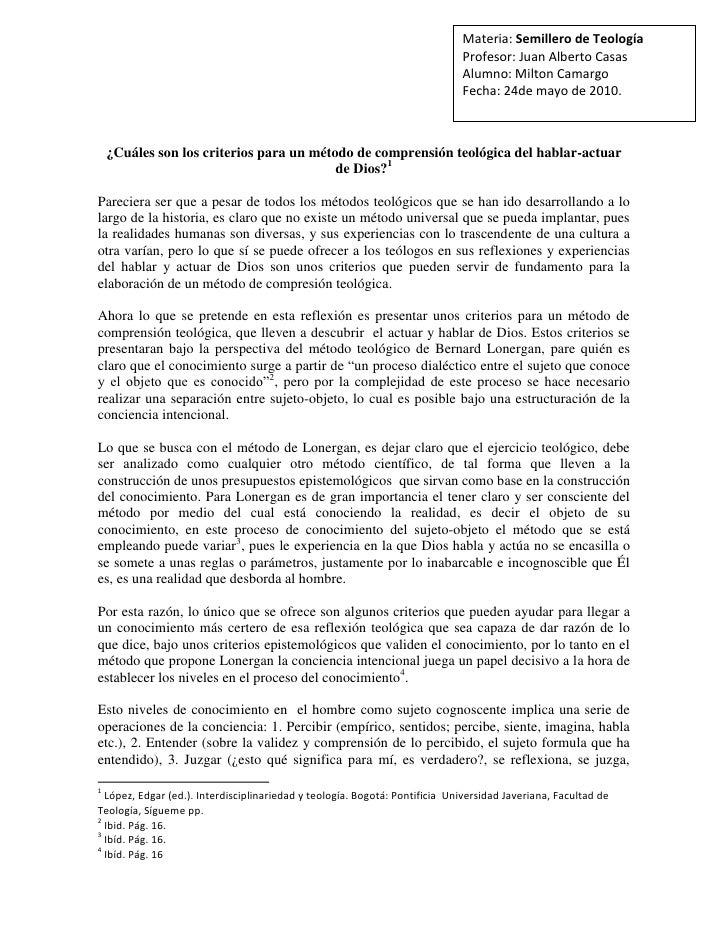 Materia: Semillero de TeologíaProfesor: Juan Alberto CasasAlumno: Milton CamargoFecha: 24de mayo de 2010. <br />¿Cuáles so...