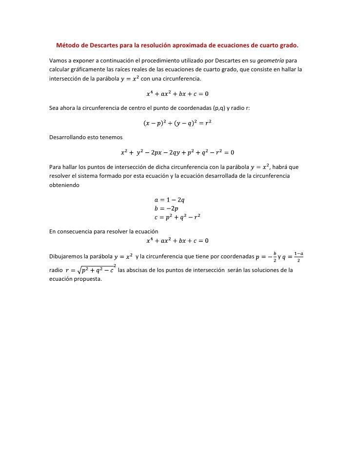 Método de descartes para la resolución aproximada de ecuaciones de cu…