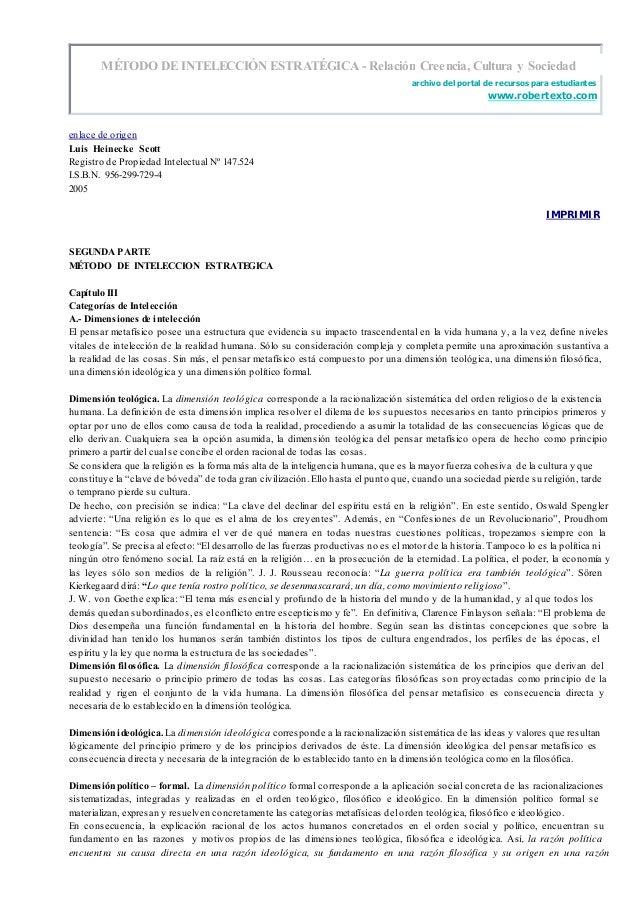 MÉTODO DE INTELECCIÓN ESTRATÉGICA - Relación Creencia, Cultura y Sociedad archivo del portal de recursos para estudiantes ...