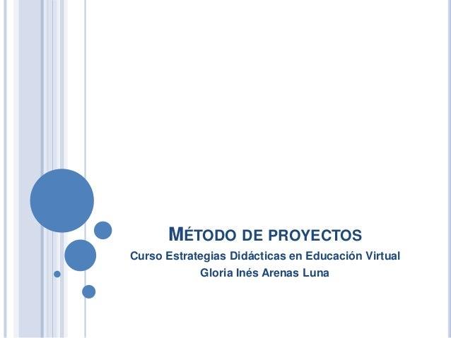 MÉTODO DE PROYECTOS  Curso Estrategias Didácticas en Educación Virtual  Gloria Inés Arenas Luna