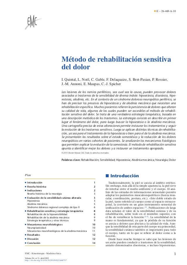 E – 26-469-A-10  Método de rehabilitación sensitiva del dolor I. Quintal, L. Noël, C. Gable, F. Delaquaize, S. Bret-Pasian...