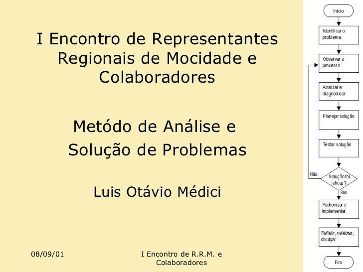 I Encontro de Representantes Regionais de Mocidade e Colaboradores Metódo de Análise e  Solução de Problemas Luis Otávio M...