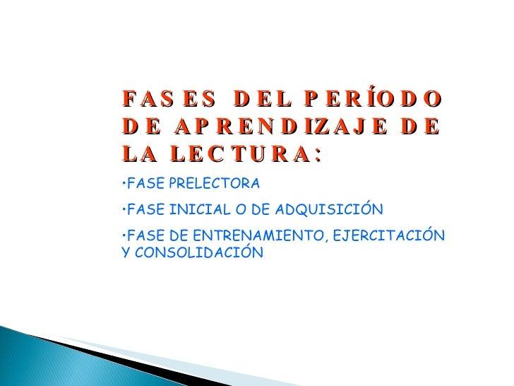 <ul><li>FASES DEL PERÍODO DE APRENDIZAJE DE LA LECTURA: </li></ul><ul><li>FASE PRELECTORA </li></ul><ul><li>FASE INICIAL O...