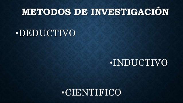 METODOS DE INVESTIGACIÓN •DEDUCTIVO •INDUCTIVO •CIENTIFICO