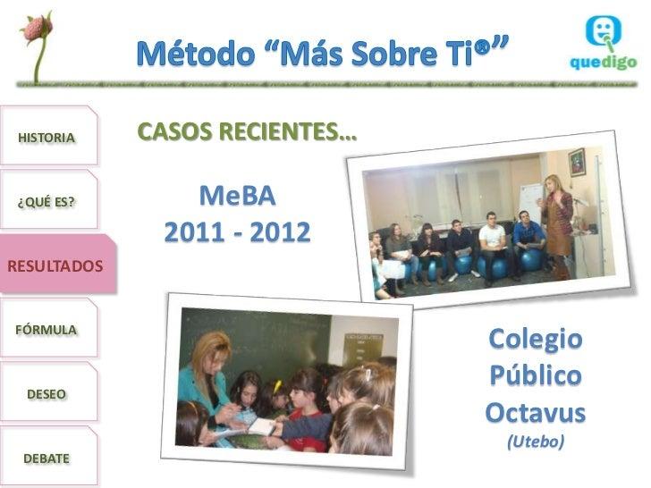HISTORIA    CASOS RECIENTES… ¿QUÉ ES?       MeBA              2011 - 2012RESULTADOSFÓRMULA                                ...