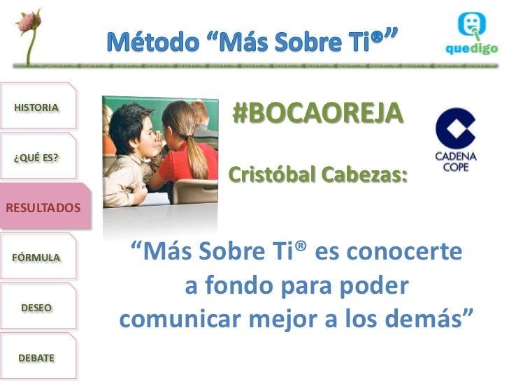 """HISTORIA                     #BOCAOREJA ¿QUÉ ES?                     Cristóbal Cabezas:RESULTADOSFÓRMULA       """"Más Sobre ..."""
