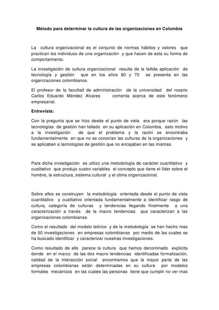 Método para determinar la cultura de las organizaciones en Colombia <br />La  cultura organizacional es el conjunto de nor...