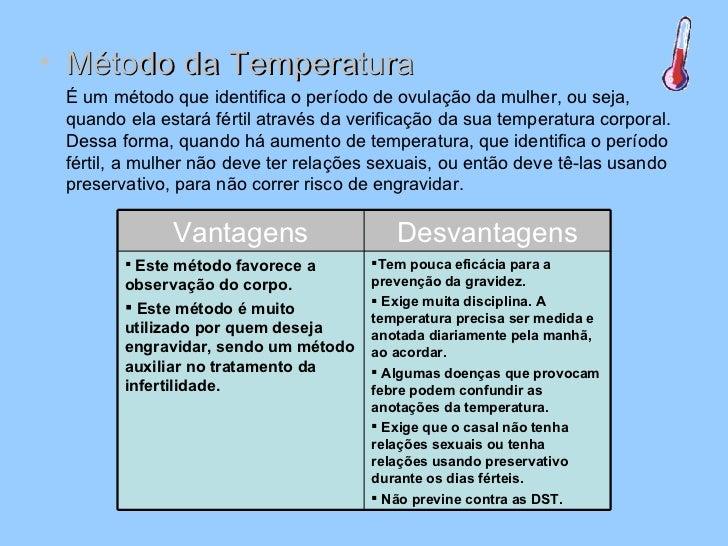 <ul><li>Método da Temperatura </li></ul><ul><li>É um método que identifica o período de ovulação da mulher, ou seja, quand...
