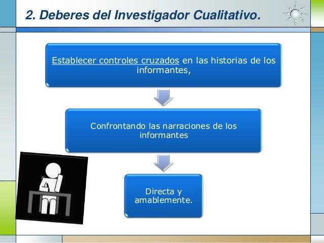 2. Deberes del Investigador Cualitativo.    Establecer controles cruzados en las historias de los                        i...