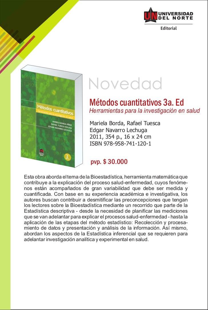 Novedad                             Métodos cuantitativos 3a. Ed                             Herramientas para la investig...