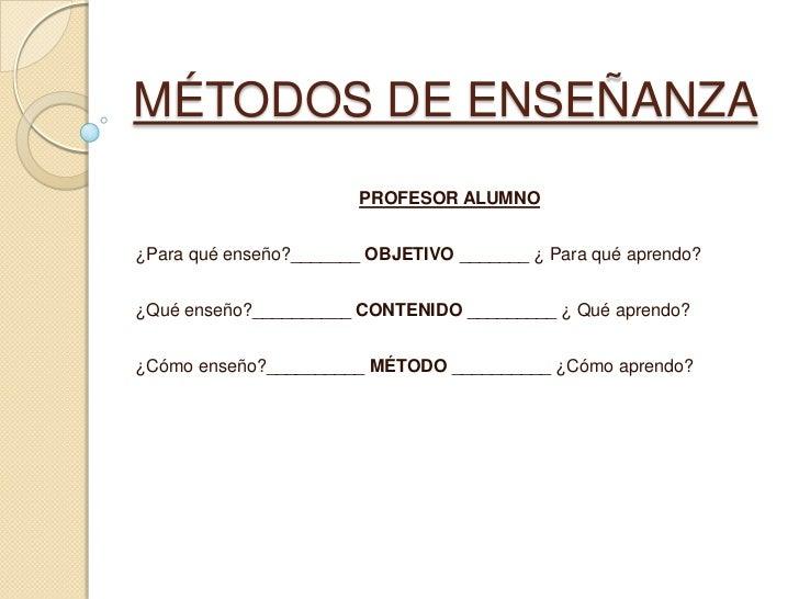 MÉTODOS DE ENSEÑANZA<br />PROFESOR ALUMNO<br />¿Para qué enseño?_______ OBJETIVO _______ ¿ Para qué aprendo?<br />¿Qué ens...