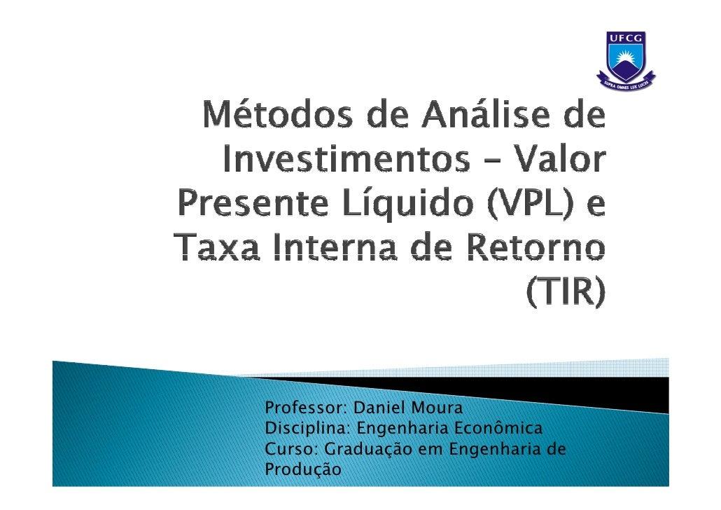 Professor: Daniel MouraDisciplina: Engenharia EconômicaCurso: Graduação em Engenharia deProdução