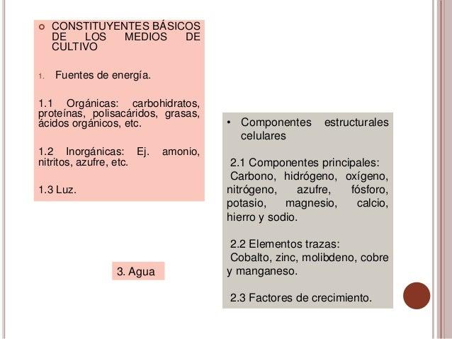     CONSTITUYENTES BÁSICOS     DE   LOS   MEDIOS   DE     CULTIVO1.   Fuentes de energía.1.1 Orgánicas: carbohidratos,pro...