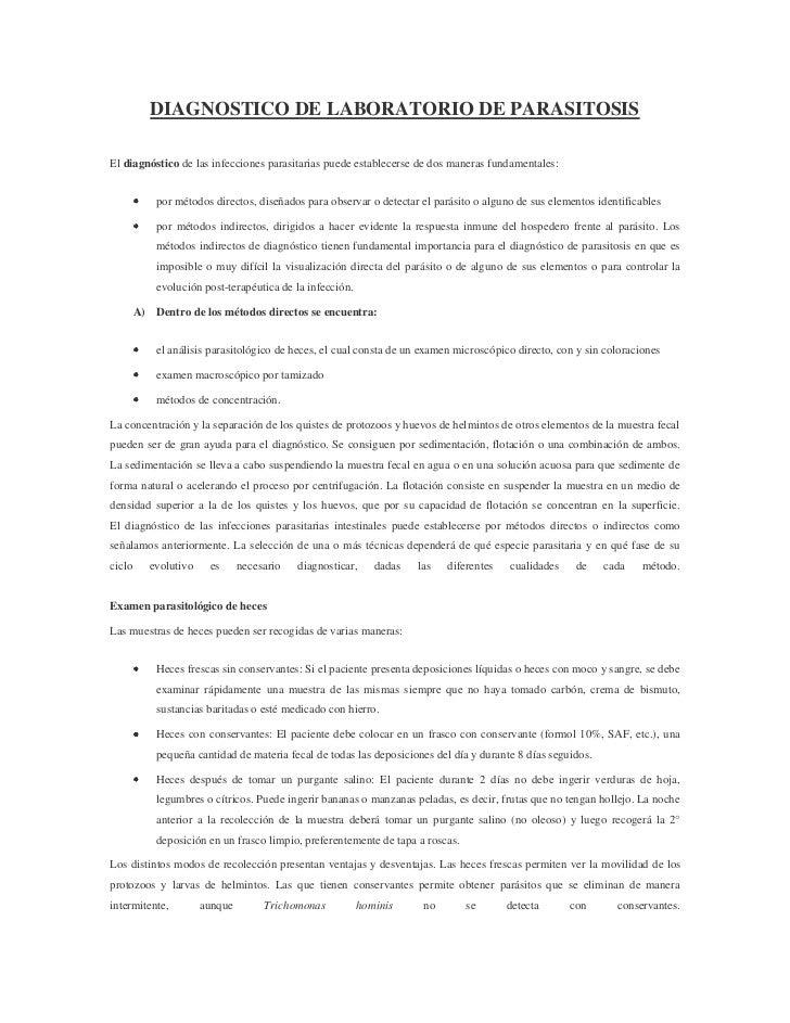 DIAGNOSTICO DE LABORATORIO DE PARASITOSISEl diagnóstico de las infecciones parasitarias puede establecerse de dos maneras ...