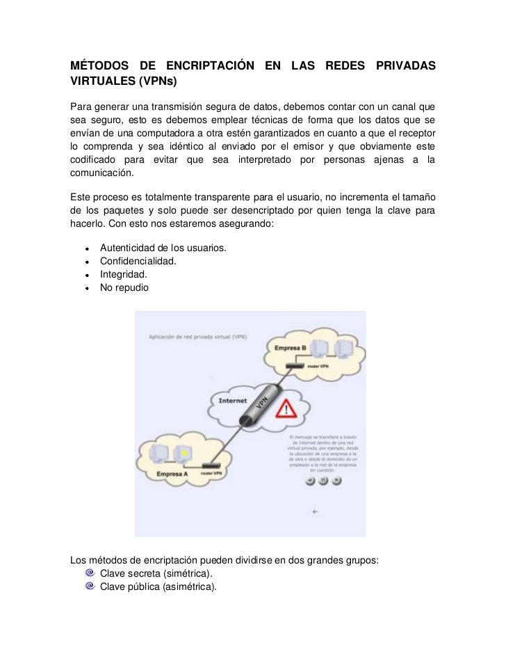 MÉTODOS DE ENCRIPTACIÓN EN LAS REDES PRIVADAS VIRTUALES (VPNs)<br />Para generar una transmisión segura de datos, debemos ...
