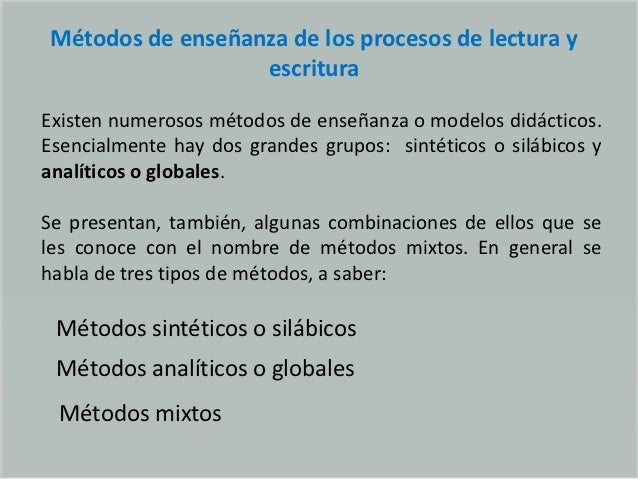 Métodos de enseñanza de los procesos de lectura y escritura Slide 2