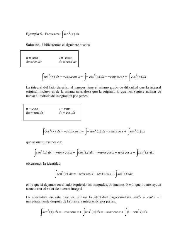 ∫ sen (x) dx                                   2Ejemplo 5. EncuentreSolución. Utilizaremos el siguiente cuadrou = senx    ...